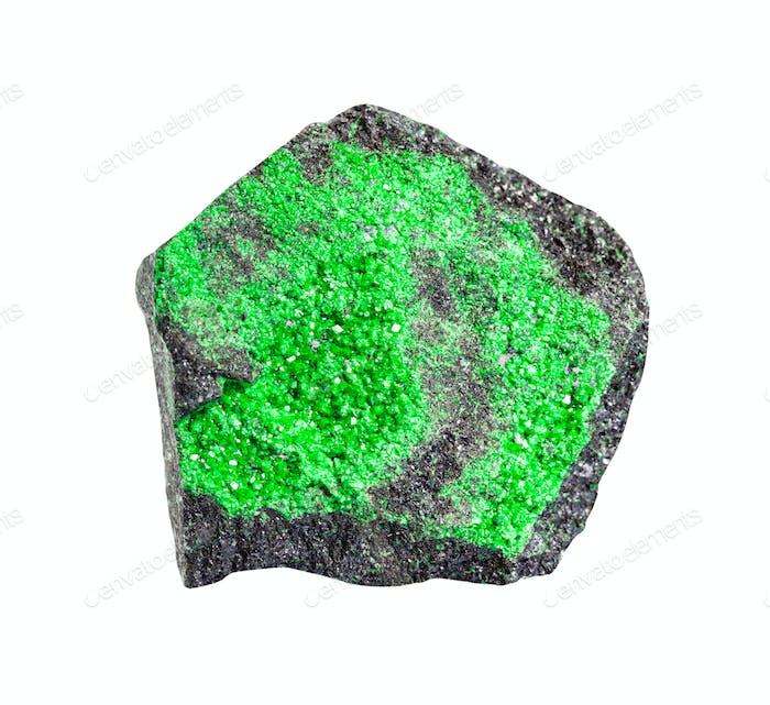 druse von Uvarovite (grüner Granat) auf Felsen isoliert