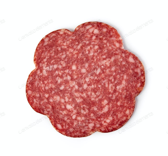 Slices of salami on a white background.