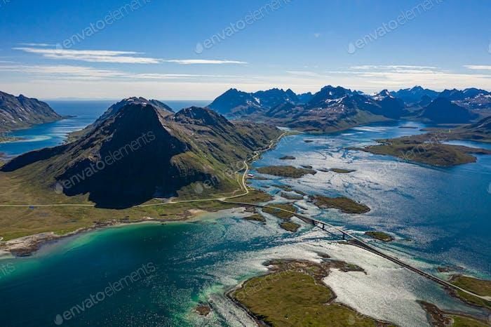 Fredvang Brücken Panorama Lofoten Inseln