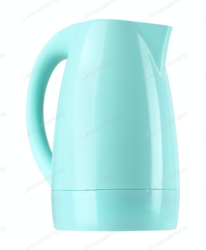 plastic electric kettle isolated on white
