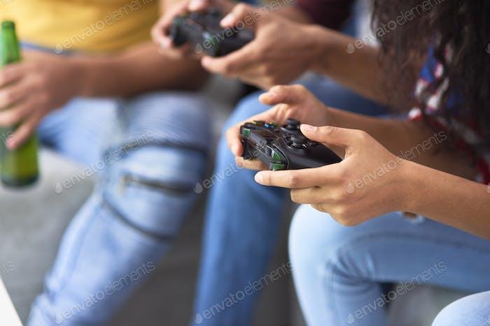 Nahaufnahme des Wettbewerbs Spielekonsole