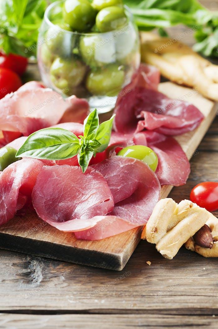 Italian traditional carpaccio of beef