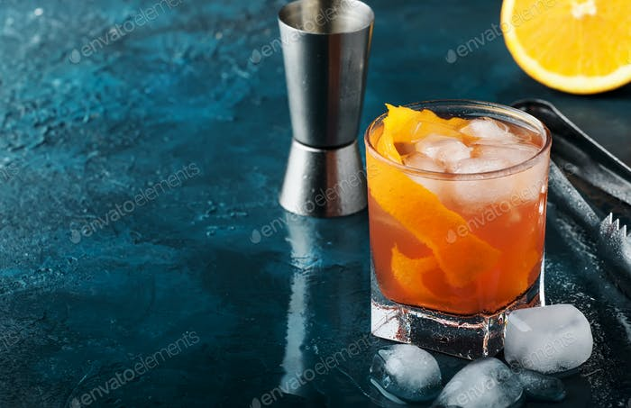 Orange Alcohol cocktail with red vermouth