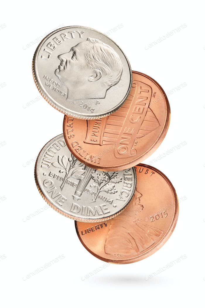 Flying coin stack with US cents isolated in white