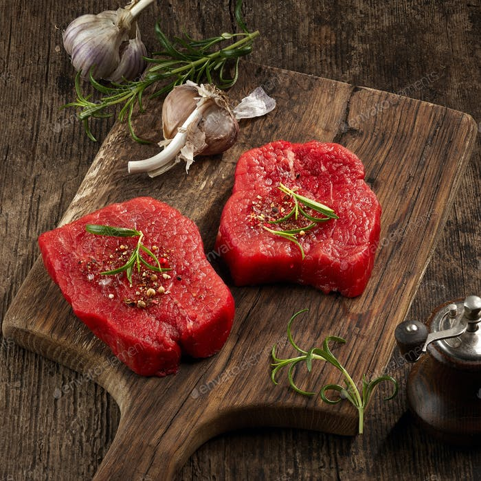 fresh raw fillet steaks