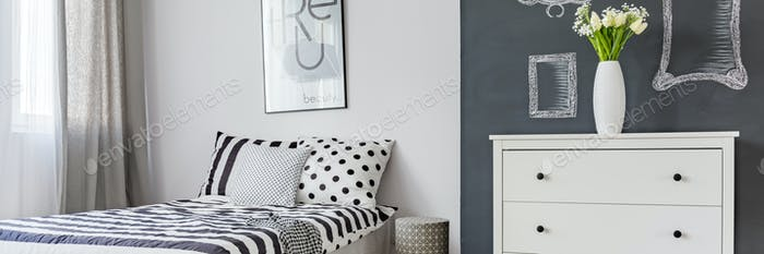Schwarz-Weiß-Schlafzimmer