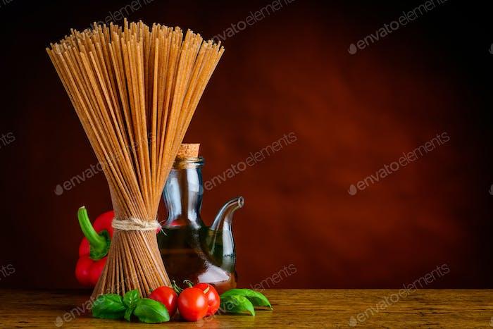 Copy Space Brown Spaghetti Pasta