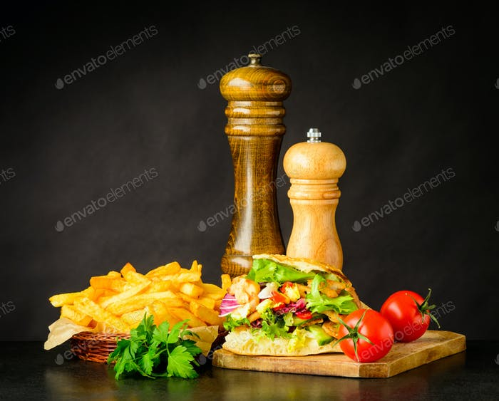 Doner Kebap Sandwich with French Fries