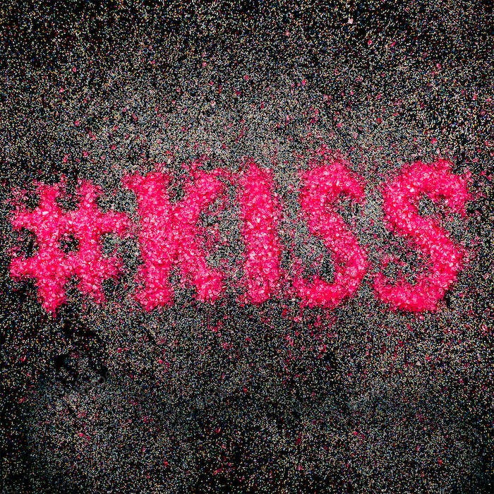 Kiss Text Minimal Design of Rhinestones