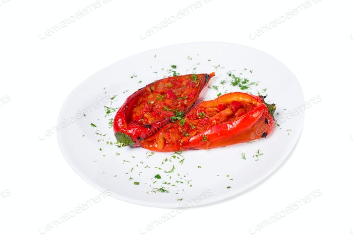 Delicious baked red paprika peppers.