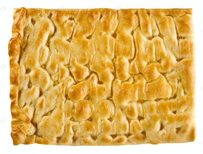 Classic focaccia bread to serve as accompaniment