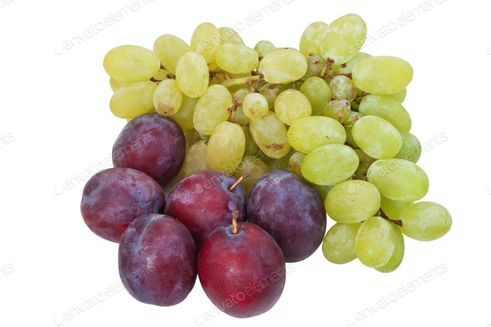 plums and grapes