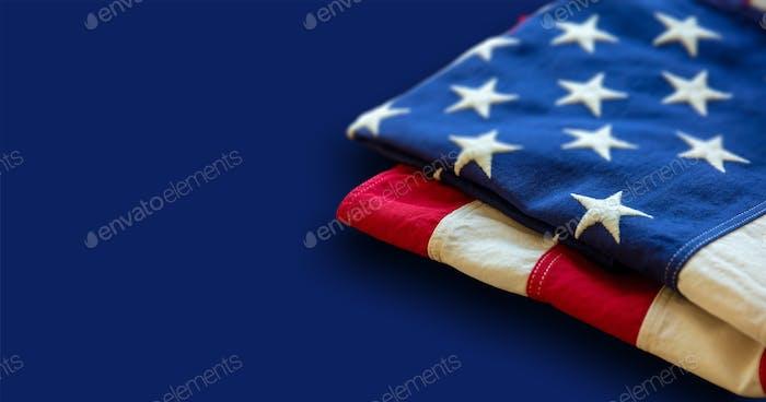 USA flag, US of America sign symbol on blue color, closeup view