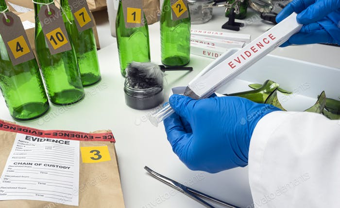 Police scientist pulls out isope with sample of evidence implicated in murder, conceptual image