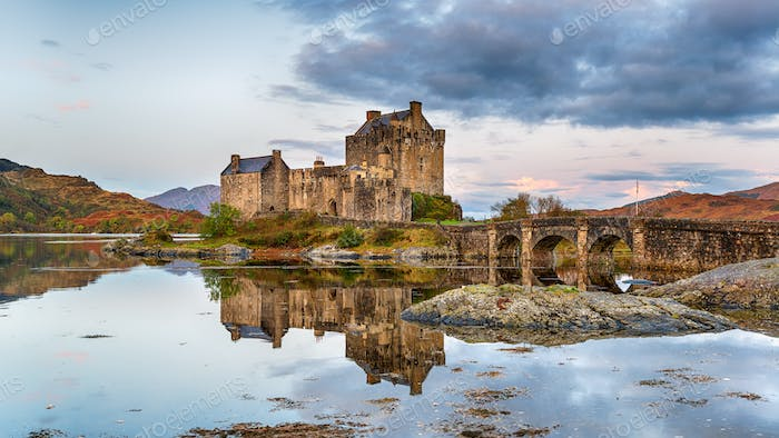 Dawn at Eilean Donan castle in Scotland