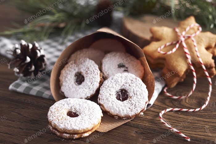 Tasty cookies with marmalade for Xmas