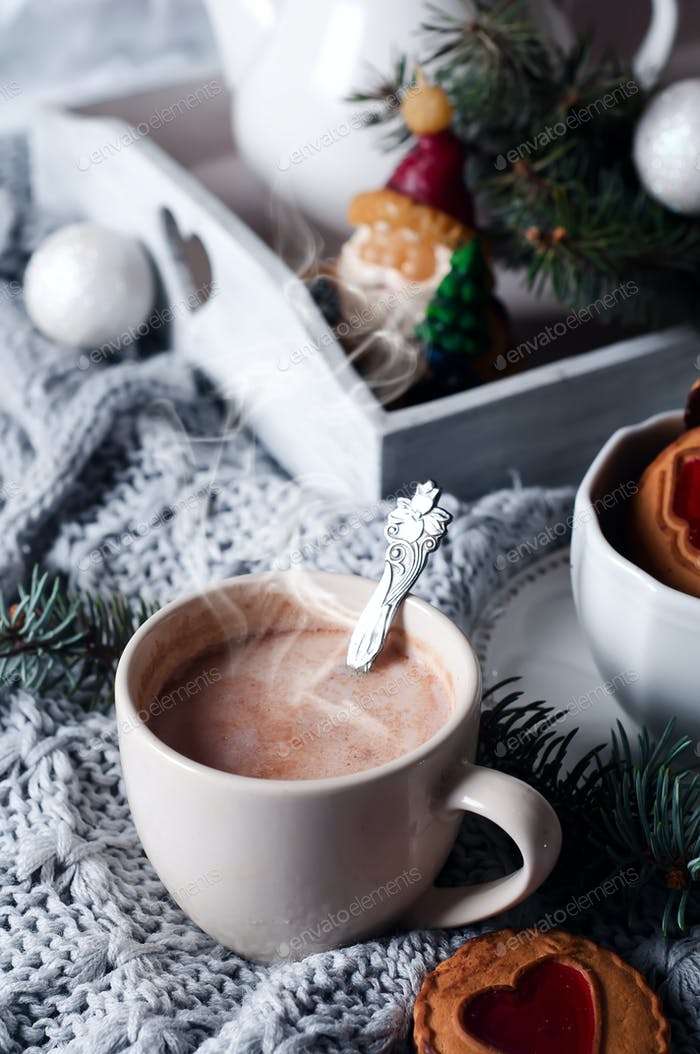 christmas breakfast in bed with coffee and cookies