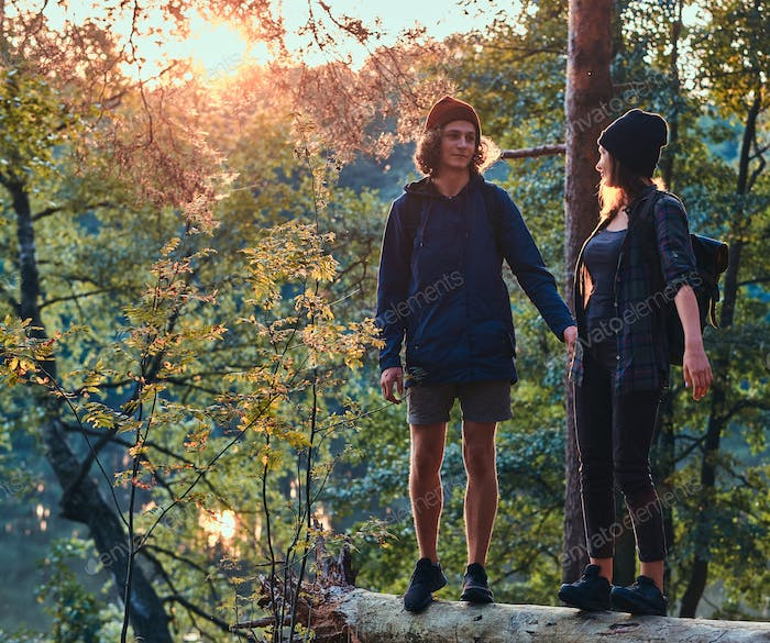 Romantic happy hikers are watching sunset in green lush forest