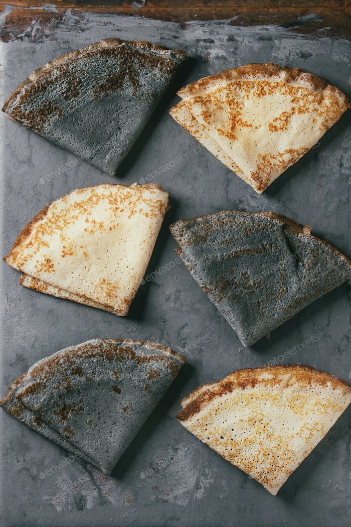 Variety of black and white pancakes