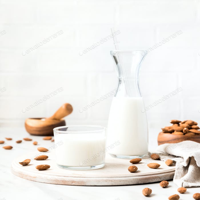 Almond milk.Drink for vegetarians.Dairy free milk substitute beverage.