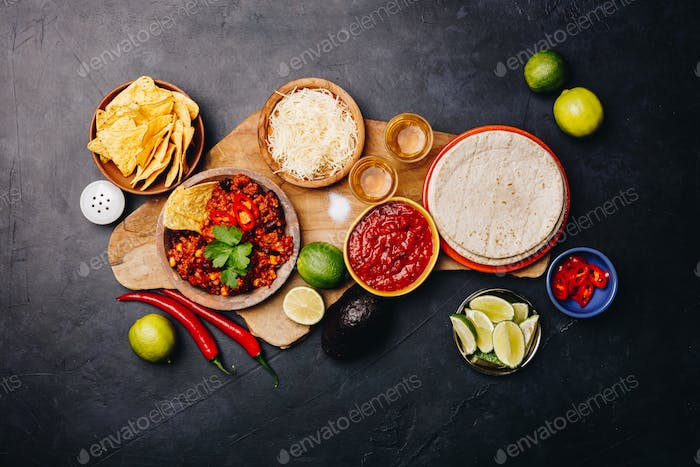 Concept of Mexican food, flat lay