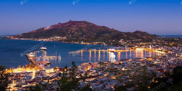 Panoramic Aerial night view of Zakynthos city in  Zante island,