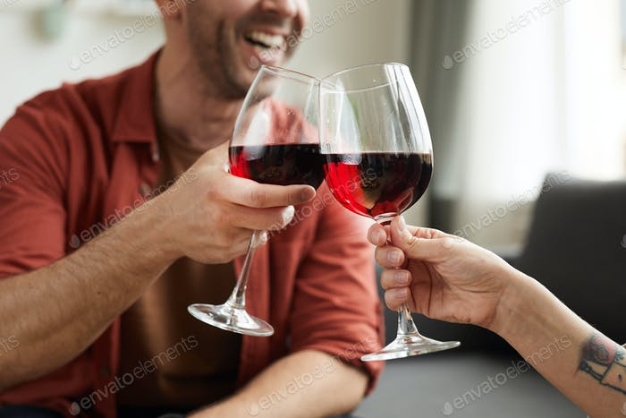 Couple toasting with wine