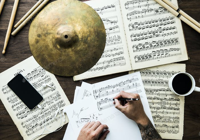 Man working with musical notes