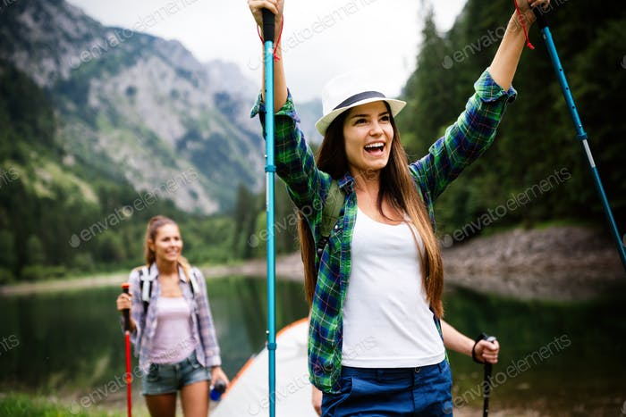 Group of happy friends enjoying outdoor activity together