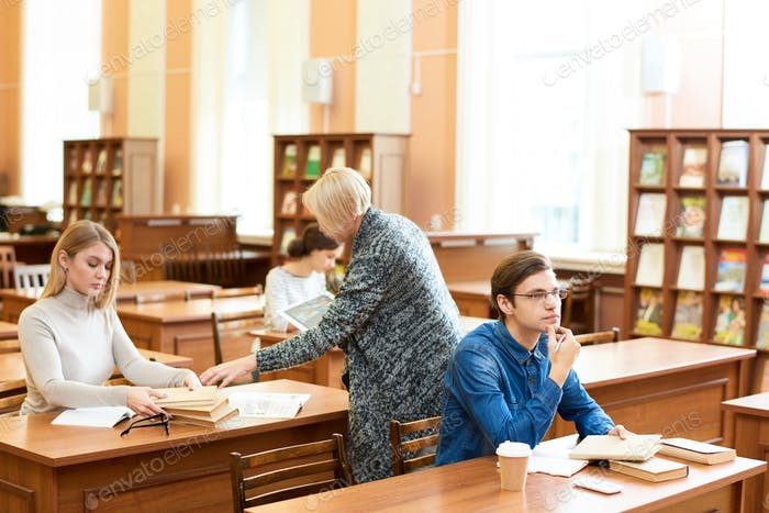 Working Process in University Reading Room
