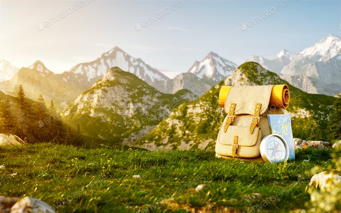 Touristic backpack with map and compass