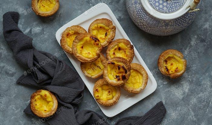 pastel de nata, de Belem, also known as Portuguese custard tart is a Portuguese egg tart pastry