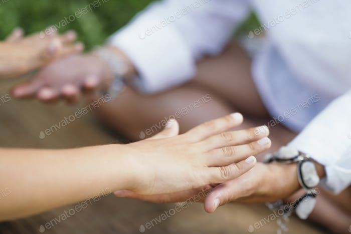 Healing Hands. Spiritual Healer Working with Client, Transferring Energy
