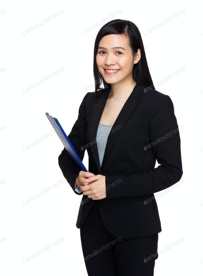 Business secretary with clipboard