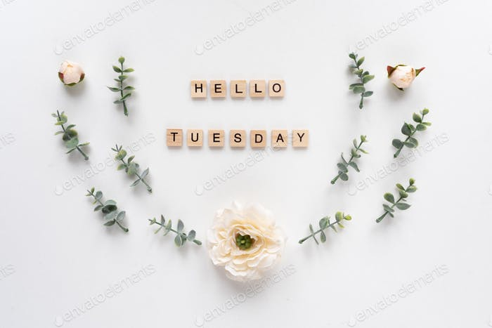 Hello Tuesday words on white marble background