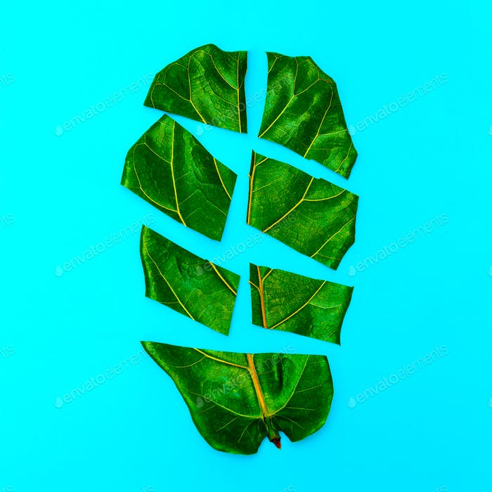 Half Leaf Fun Art. Green lover. Flat lay minimal