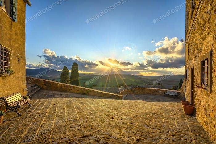 Montegemoli village and panoramic view. Tuscany, Italy.