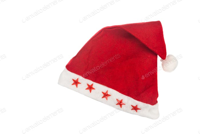 Beautiful red Christmas hat on white background.