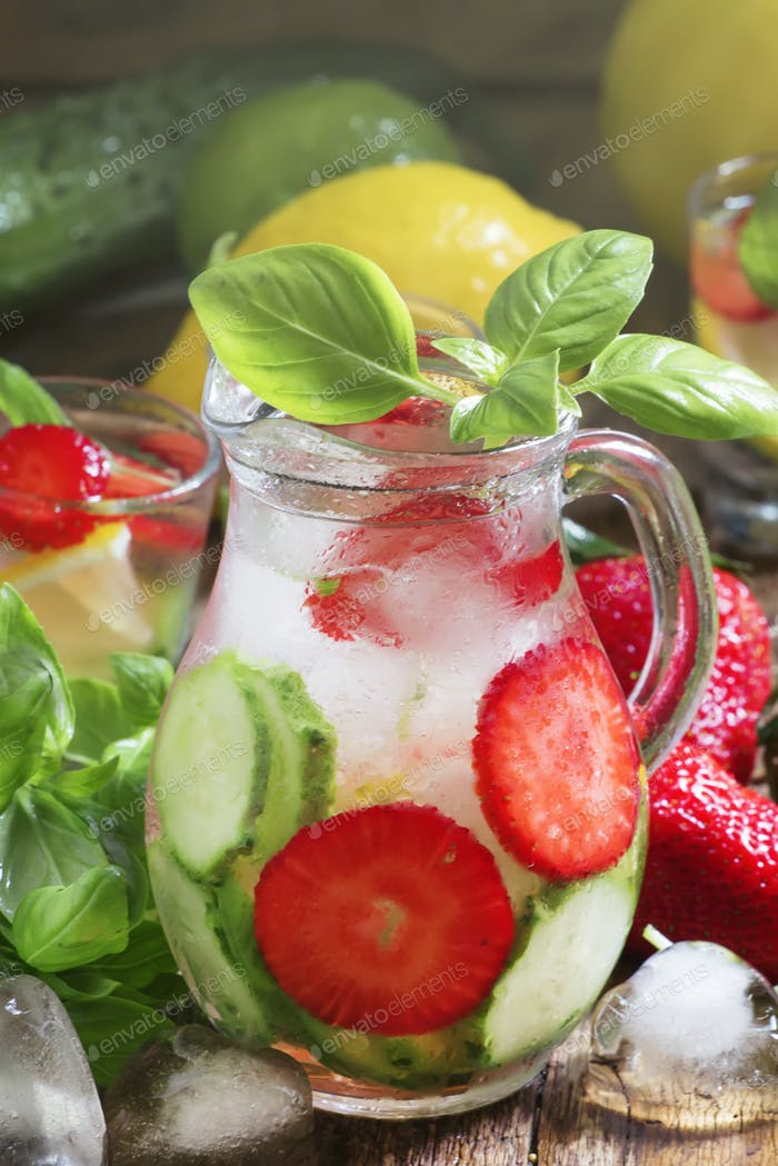 Cucumber strawberry basil lemonade