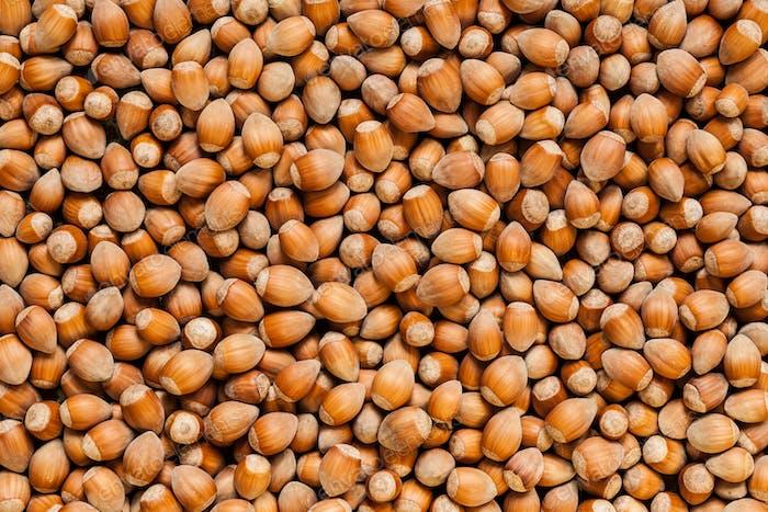 Stack of hazelnuts