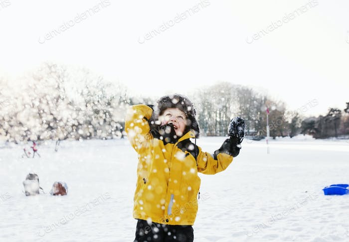 Happy boy in warm clothing enjoying snowfall