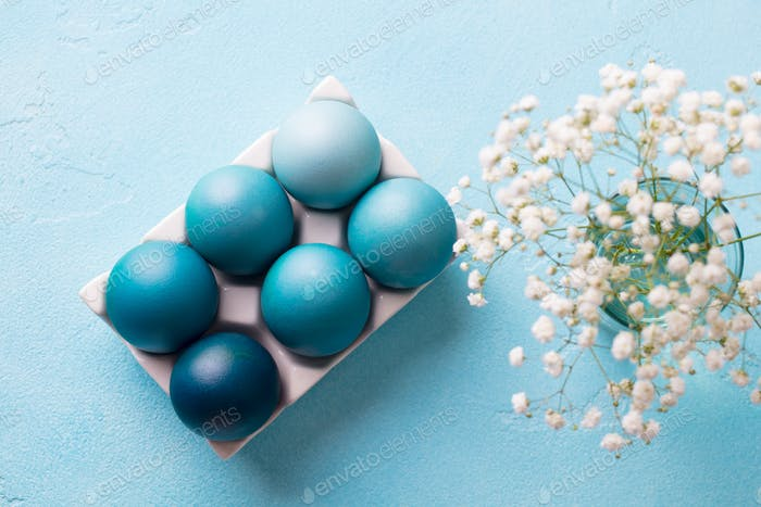 Colorful Easter Eggs in a Porcelain Egg Box with White Flowers on a Blue Background. Top view.