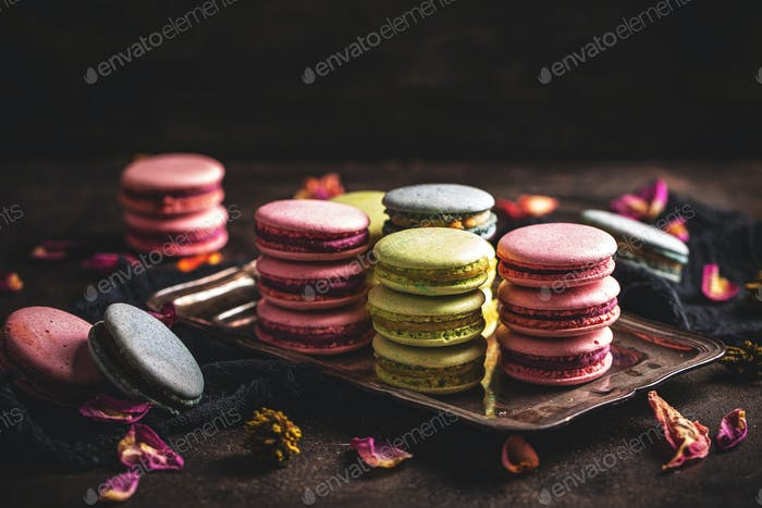 Macarons on vintage tray