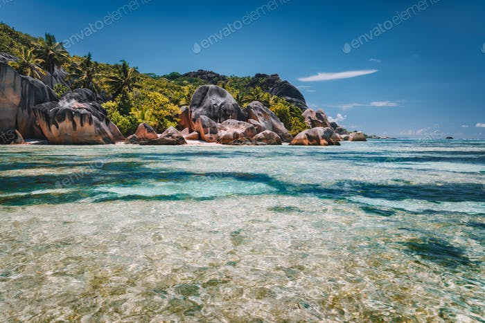 Anse Source d'Argent - exotic paradise beach with granite boulders on island La Digue at