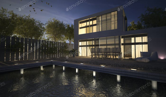 3D rendering modern house with terrace at night