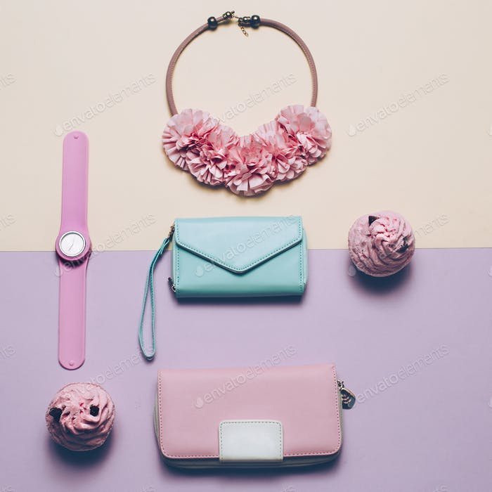 Ladies Fashion Accessories. Wallet, watch, necklace. Pastel colo