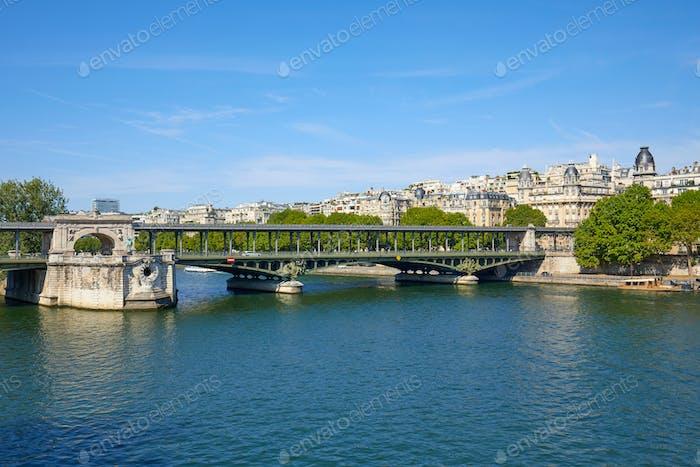 Famous Bir Hakeim bridge view and Seine river in Paris