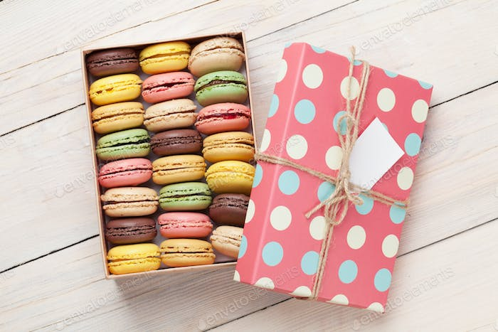 Colorful macaroons in a gift box