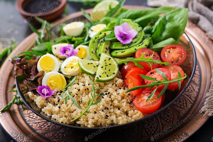 Diet menu. Healthy salad of fresh vegetables