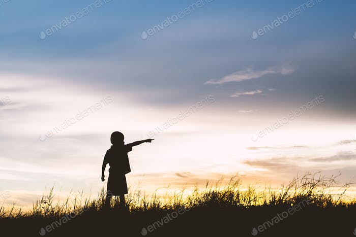 kid silhouette,Moments of the child's joy. looking for future,